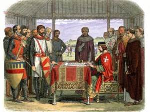King John at Runnymede (1215) signing the Magna Carta