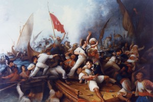 "WSJ: ""A painting of U.S. Navy Lt. Stephen Decatur battling Muslim sailors, Tripoli, August 1804. Photo: Naval Historical Center, Department of the Navy, Washington Navy Yard"""