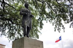 A statue of Jefferson Davis is seen on the University of Texas campus, Tuesday, May 5, 2015, in Austin, Texas. As University of Texas administrators consider a request to remove a statue that symbolizes the Confederacy, the number of memorials in Texas honoring the Confederate cause and its leaders continues to grow. (AP Photo/Eric Gay)