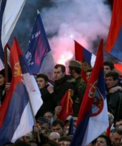 Serbs protesting the independence of Kosovo (2008) Koca Sulejmanovic/EPA