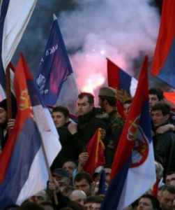 Serbs protesting the independence of Kosovo (2008) Koca Sulejmanovic/EPA