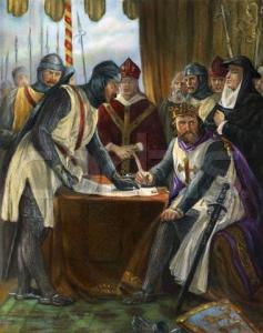 King John signing the Magna Carta (1215).  Undated illustration, after a painting by Chappel. --- Image by © Bettmann/CORBIS