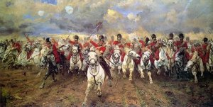 Painting of the Scots famous cavalry charge at the Battle of Waterloo by Elizabeth Butler: Scotland for Ever!, 1881