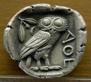 """Millions of silver tetradrachms (like the example shown here at the Museum of Fine Arts of Lyon) may have been kept in the attic of the Parthenon. """