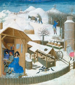 Musée Condé, Chantilly, France/Bridgeman Images A country household in winter representing the month of February in the duke of Berry's Book of Hours, by the Limbourg brothers, circa 1412–1416