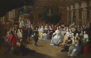Charles II shown at a court ball in the 1660s. He and his inner circle at court were obsessed with partying and he flaunted his mistresses in front of his wife, Catherine. (Credit: Bridgeman Art Library)