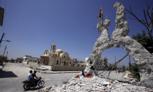Wreckage in Qusayr, a city in Syria's western Homs province. Joseph Eid / Getty Images