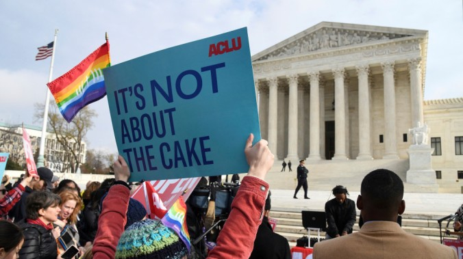 Protestors Hold Rallies Outside Supreme Court Over Cakeshop Civil Rights Case- DC